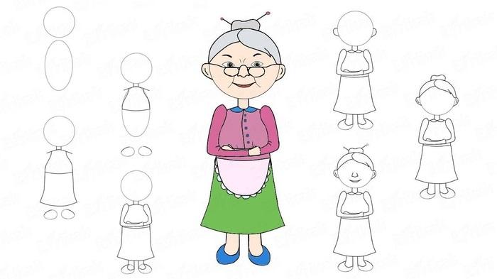 Бабушка, дедушка и внучка рисунок (1)
