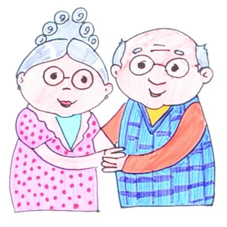 Бабушка, дедушка и внучка рисунок (18)