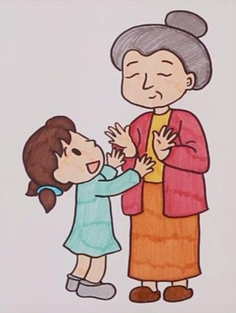 Бабушка, дедушка и внучка рисунок (3)