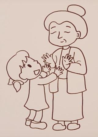 Бабушка, дедушка и внучка рисунок (5)