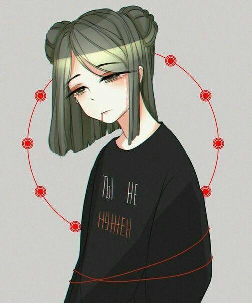 Грустные черно-белые картинки аниме (17)