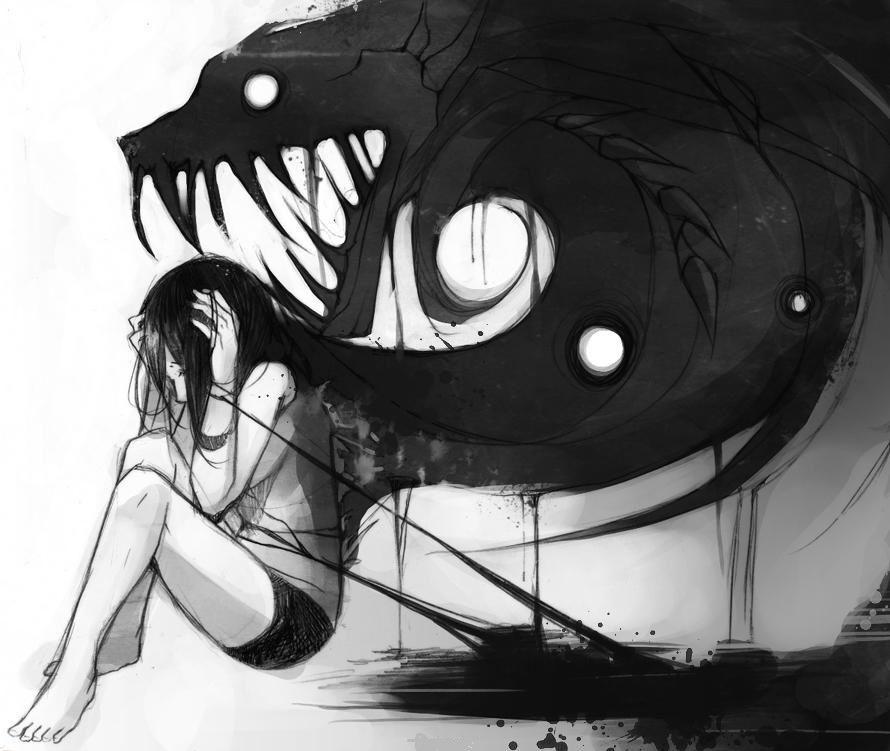 Грустные черно белые картинки аниме (24)