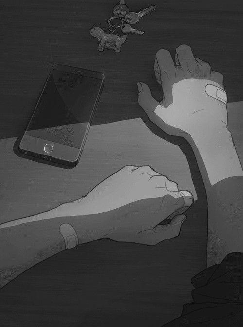 Грустные черно белые картинки аниме (30)