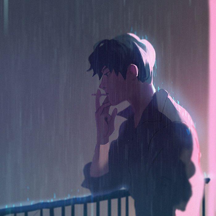 Грустные черно белые картинки аниме (5)