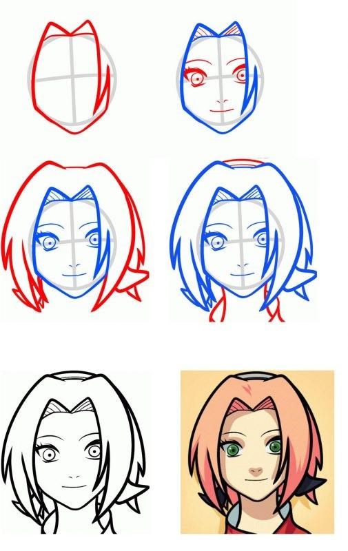 Картинки для срисовки поэтапно аниме (1)