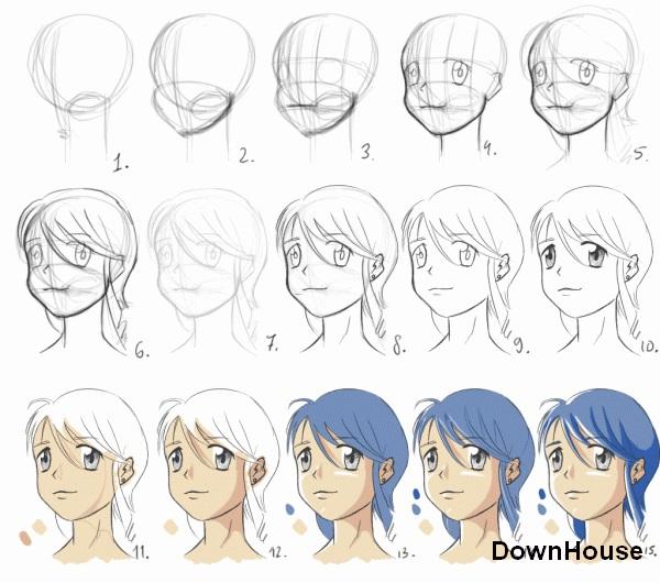 Картинки для срисовки поэтапно аниме (2)