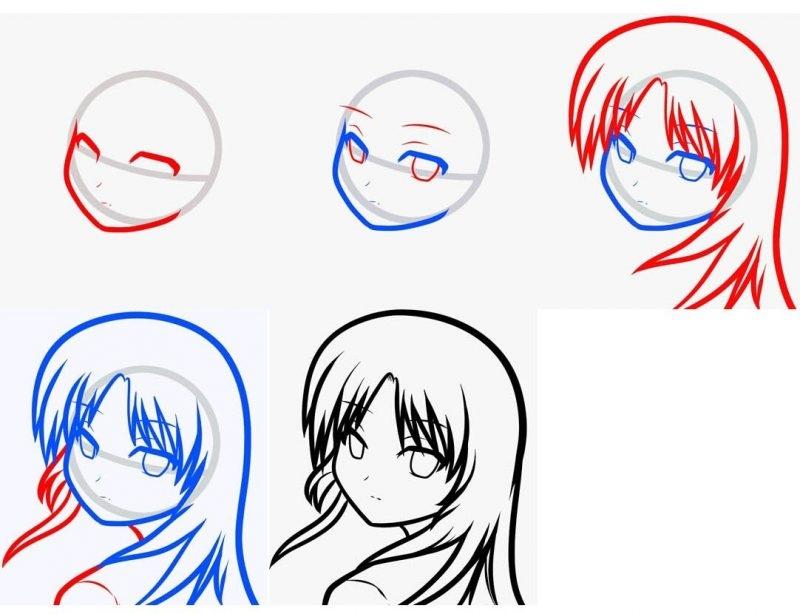 Картинки для срисовки поэтапно аниме (3)