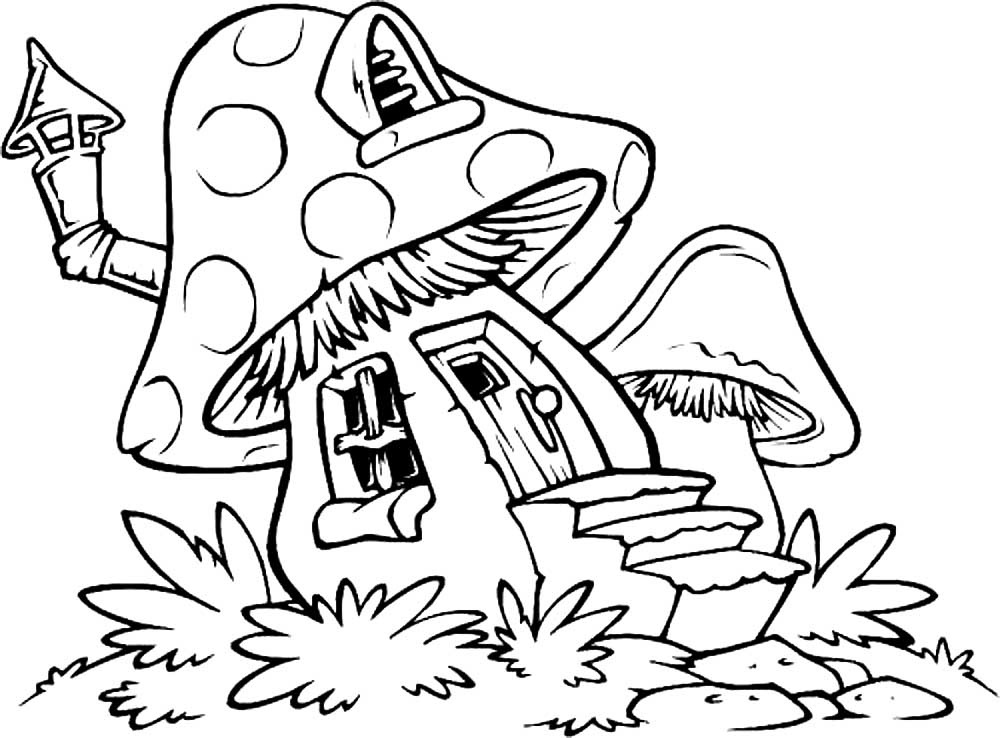 Картинки раскраски мухомора для детей (13)