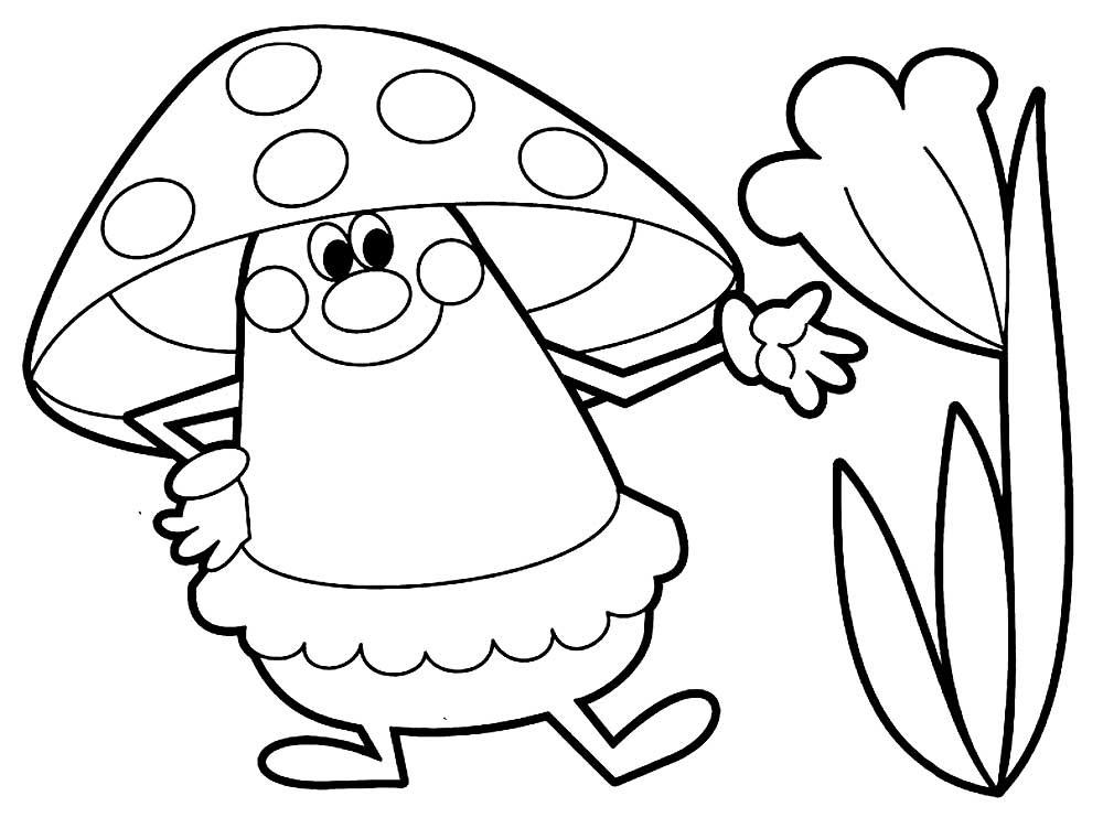 Картинки раскраски мухомора для детей (15)