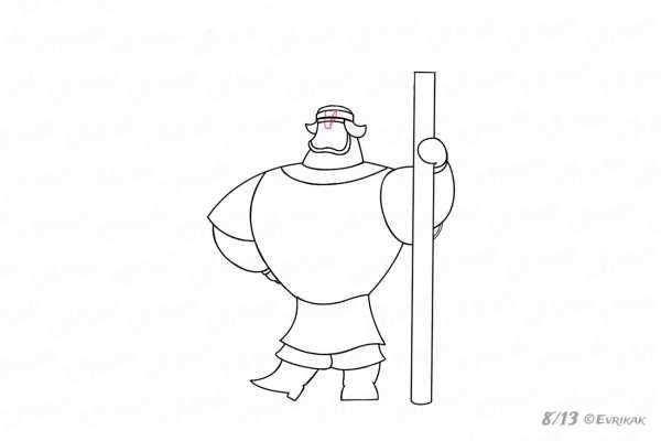 Рисуем богатыря поэтапно (17)