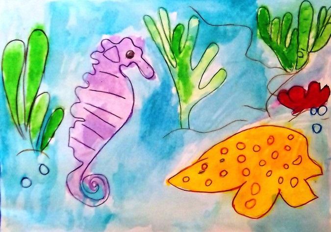 Рисуем морских обитателей с детьми - подборка рисунков (18)