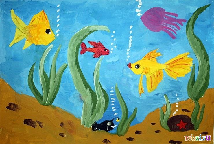 Рисуем морских обитателей с детьми - подборка рисунков (26)