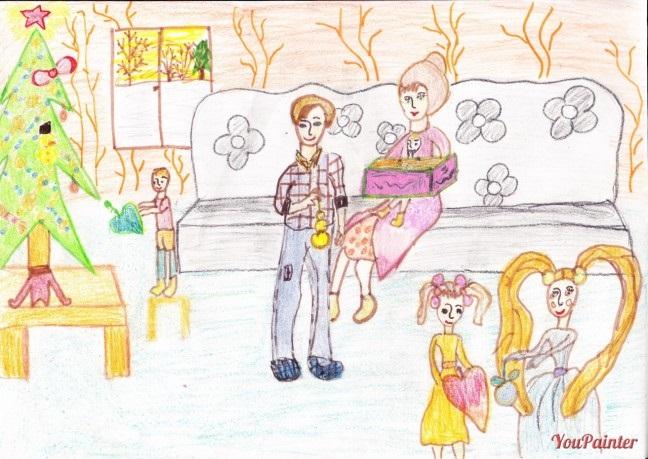 Рисунок моя семья в школу (12)