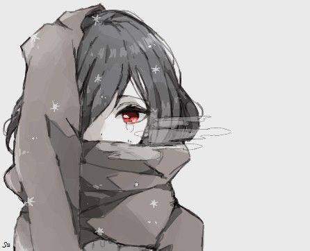 Черно-белые грустные картинки из аниме (1)