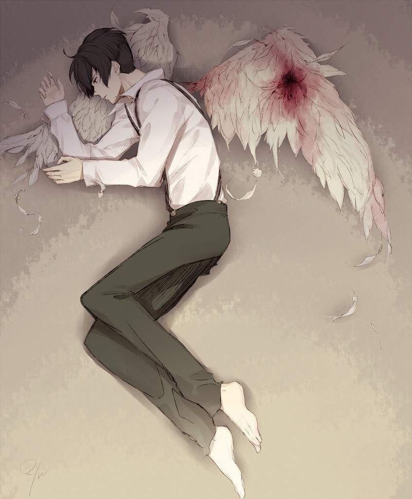 Черно-белые грустные картинки из аниме (19)