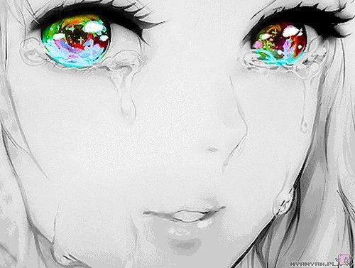 Черно-белые грустные картинки из аниме (29)