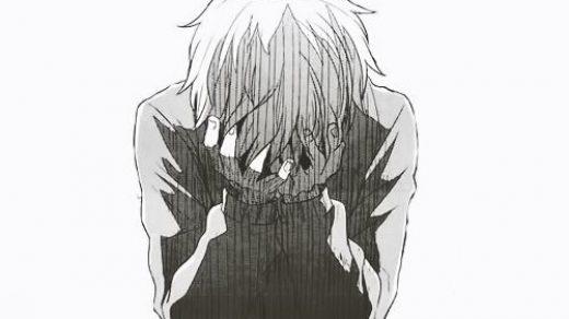 Черно белые грустные картинки из аниме (33)