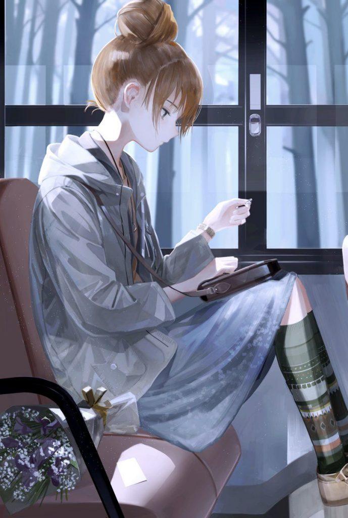 Черно-белые грустные картинки из аниме (9)
