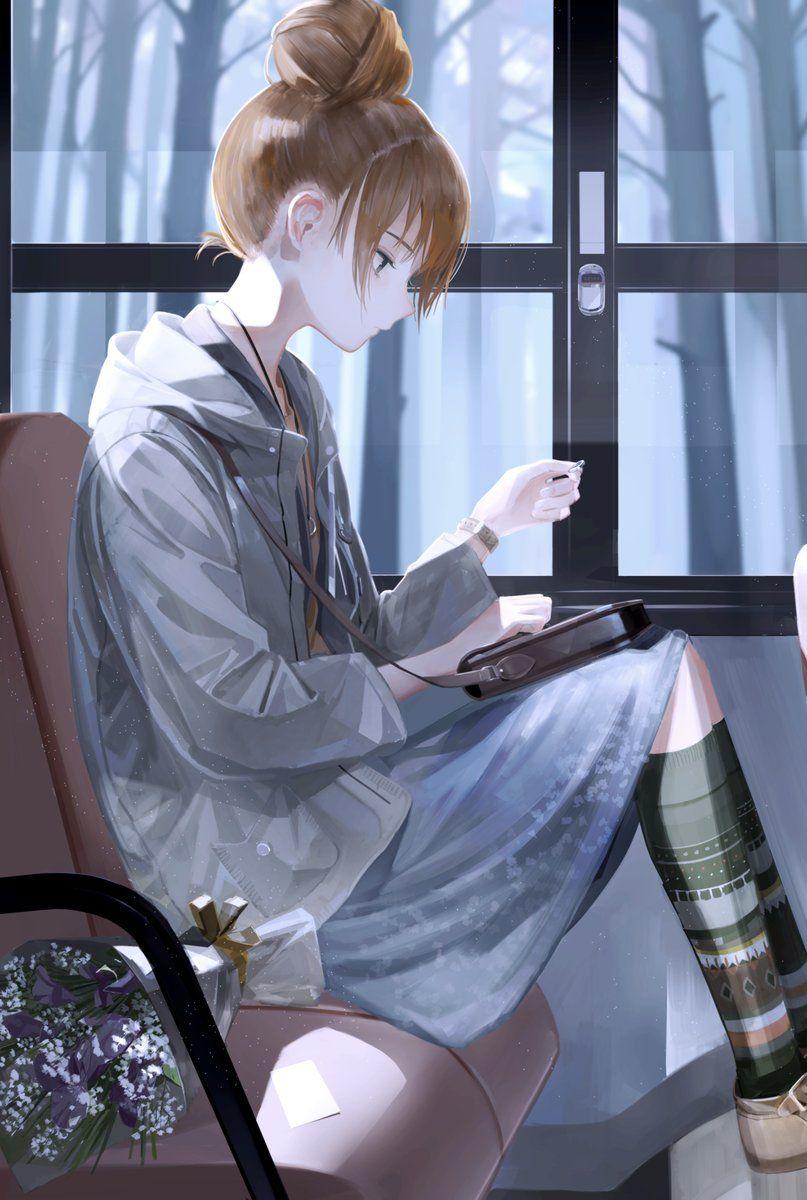 Черно белые грустные картинки из аниме (9)