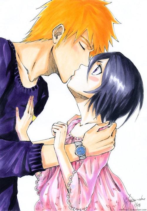 Блич картинки Ичиго и Рукия любовь (4)