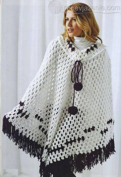 Вязаное пончо фото (1)