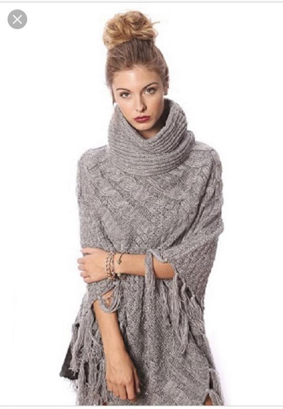 Вязаное пончо фото (3)