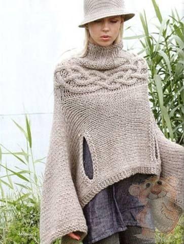 Вязаное пончо фото (5)