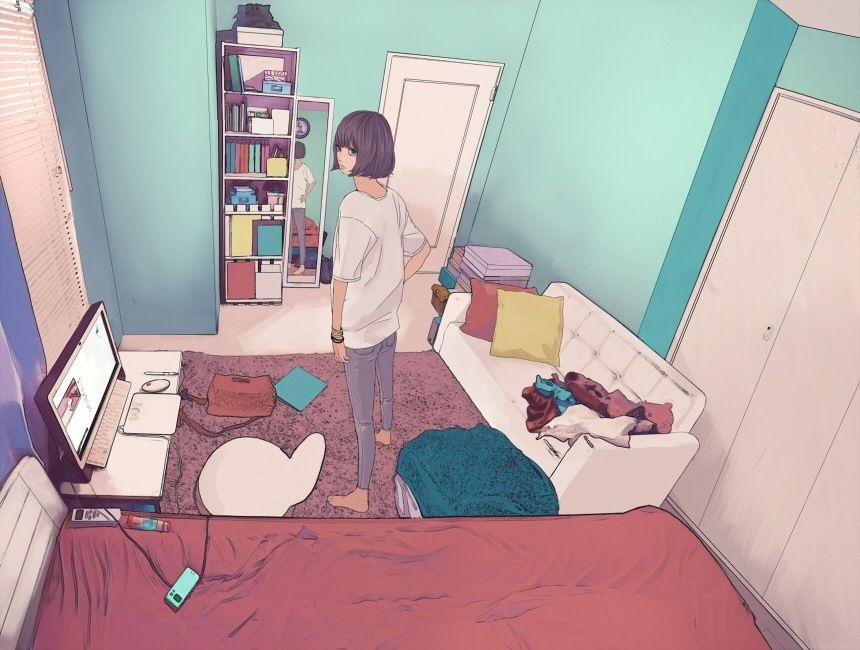 Девушка с парнем аниме арт (10)