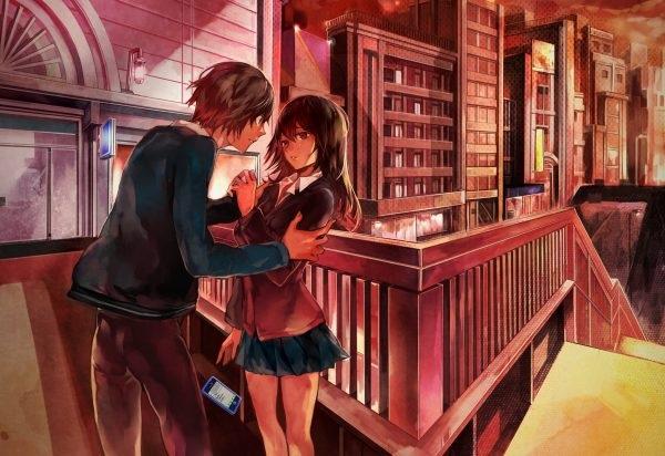 Девушка с парнем аниме арт (16)