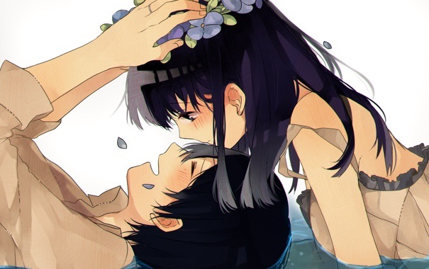 Девушка с парнем аниме арт (22)