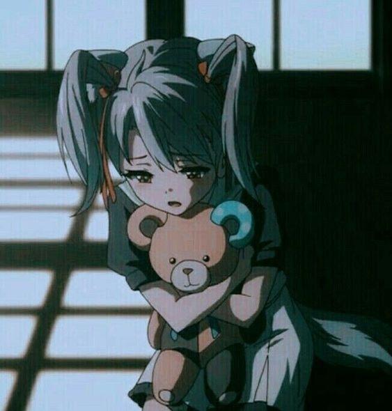 Девушки грустные на аву аниме (7)