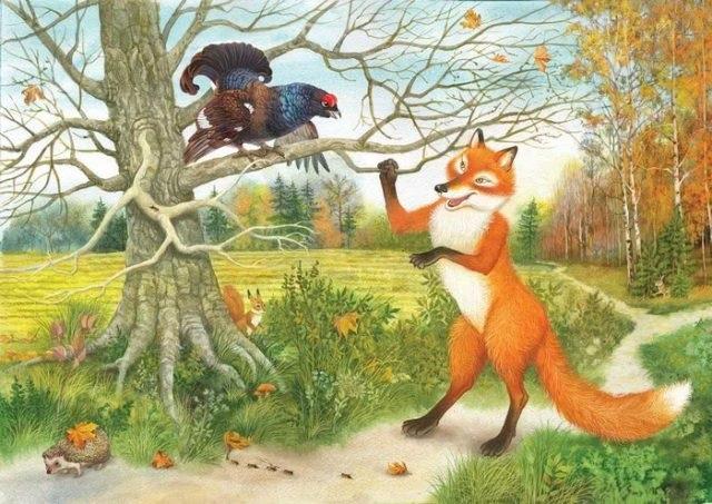 Детский рисунок лиса и тетерев (12)
