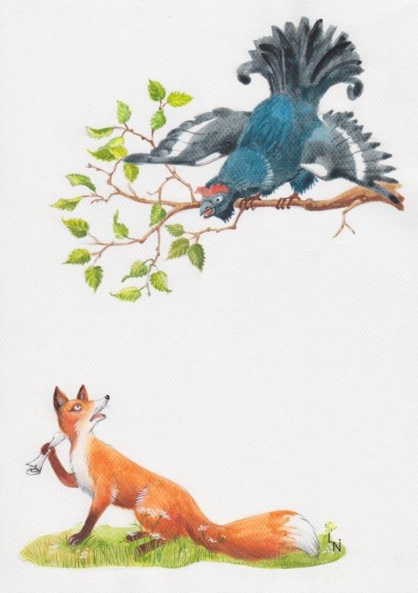 Детский рисунок лиса и тетерев (14)