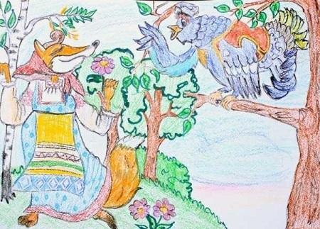 Детский рисунок лиса и тетерев (19)