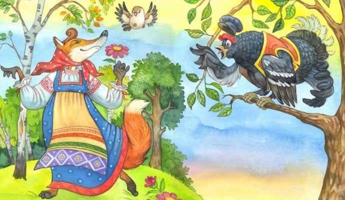 Детский рисунок лиса и тетерев (20)