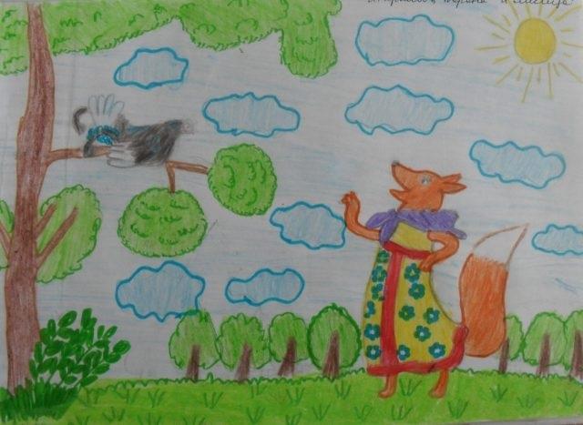 Детский рисунок лиса и тетерев (22)