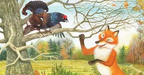 Детский рисунок лиса и тетерев (4)