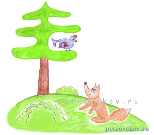 Детский рисунок лиса и тетерев (6)