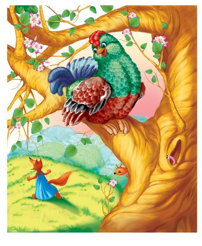 Детский рисунок лиса и тетерев (9)