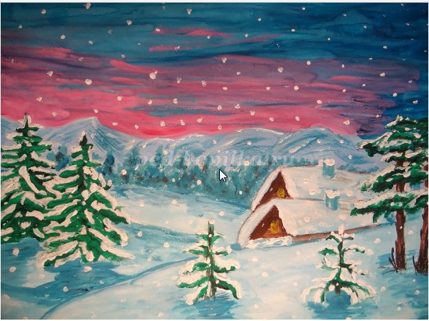Зима класс 3 рисунки подборка (6)
