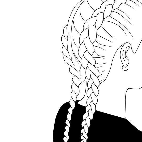 Коса черно-белая картинка для детей