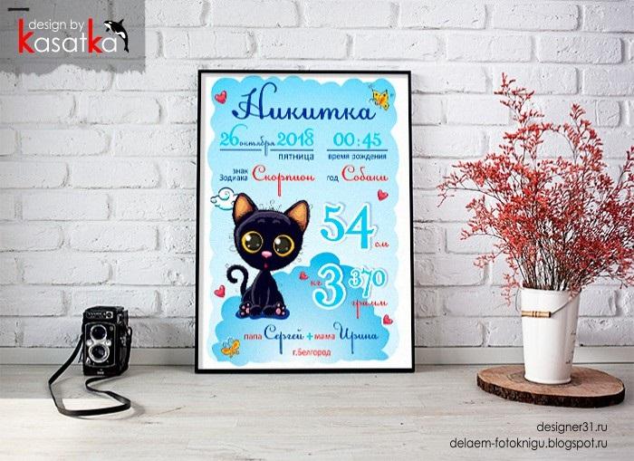 Метрика для новорожденного постер шаблон (10)