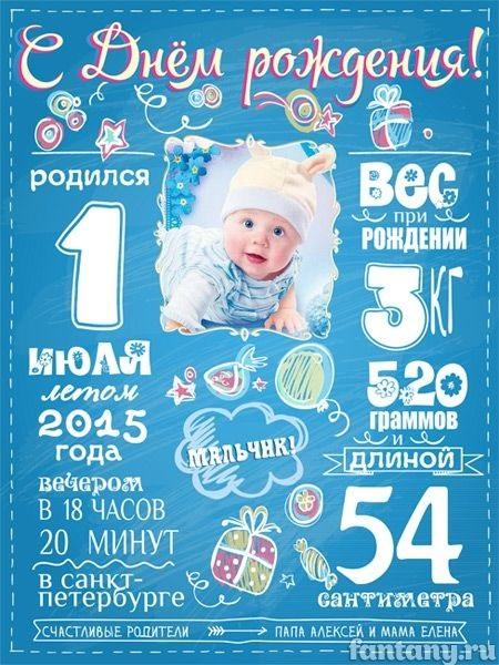 Метрика для новорожденного постер шаблон (12)