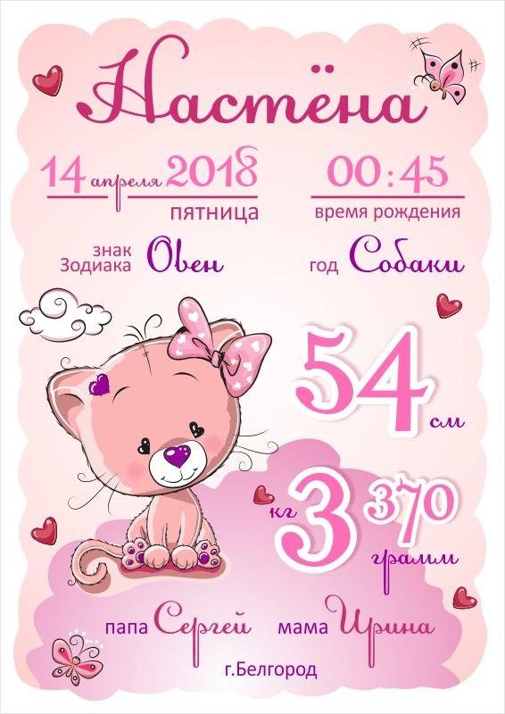Метрика для новорожденного постер шаблон (15)