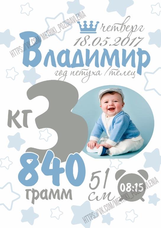 Метрика для новорожденного постер шаблон (22)