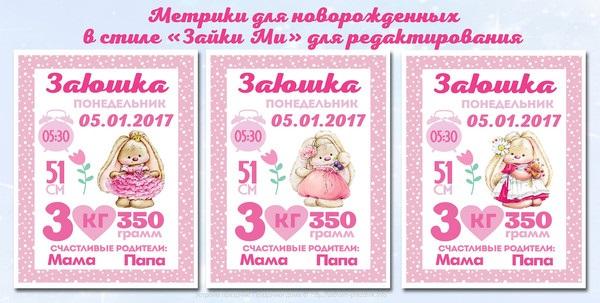 Метрика для новорожденного постер шаблон (24)