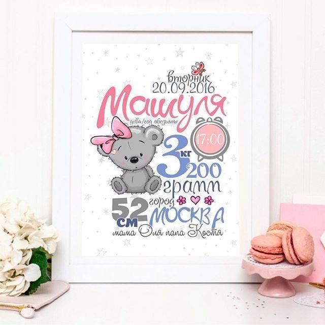 Метрика для новорожденного постер шаблон (5)