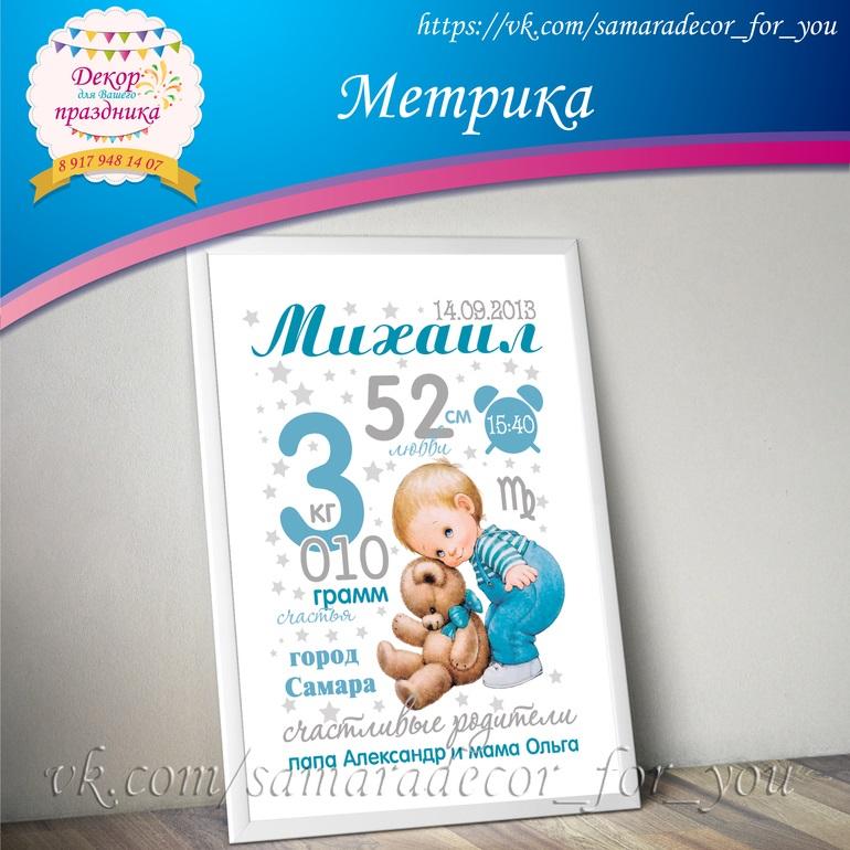 Метрика для новорожденного постер шаблон (9)