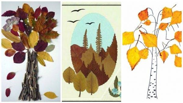 Осенний пейзаж поделки - сборка фото (10)