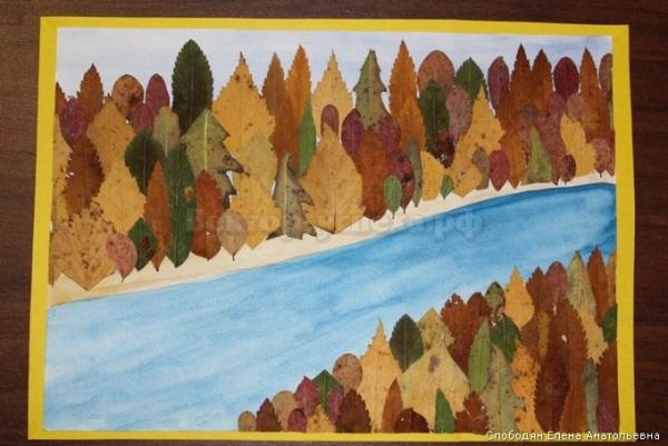 Осенний пейзаж поделки - сборка фото (2)